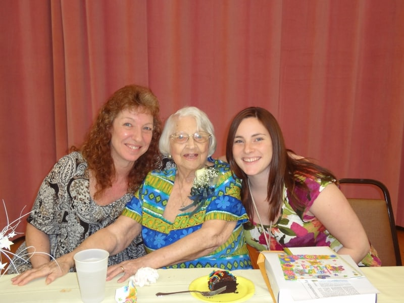 (Left to Right) Linda Fulmer with resident Ruth Hinderliter and Etna Commons Service Coordinator Danielle Boleware. These ladies are celebrating Ruth's 100th birthday!