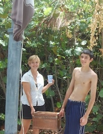 The author and her son, Kenton, on a scavenger hunt.